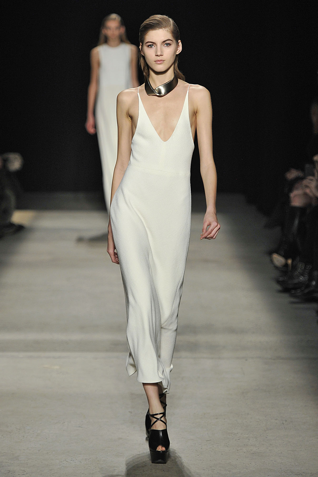 Look 28 Chalk wool crepe bias dress.