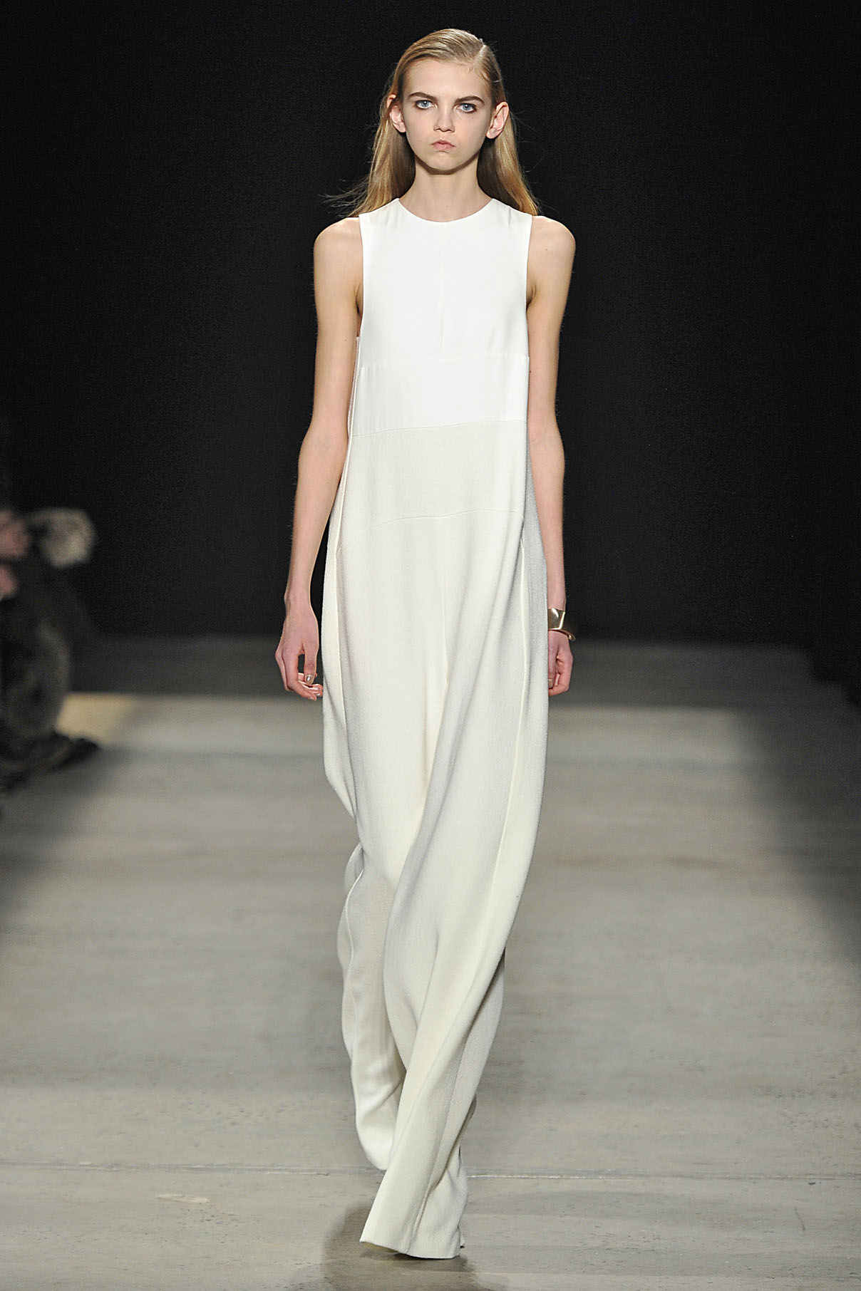 Look 29 Chalk silk/wool crepe jumpsuit.
