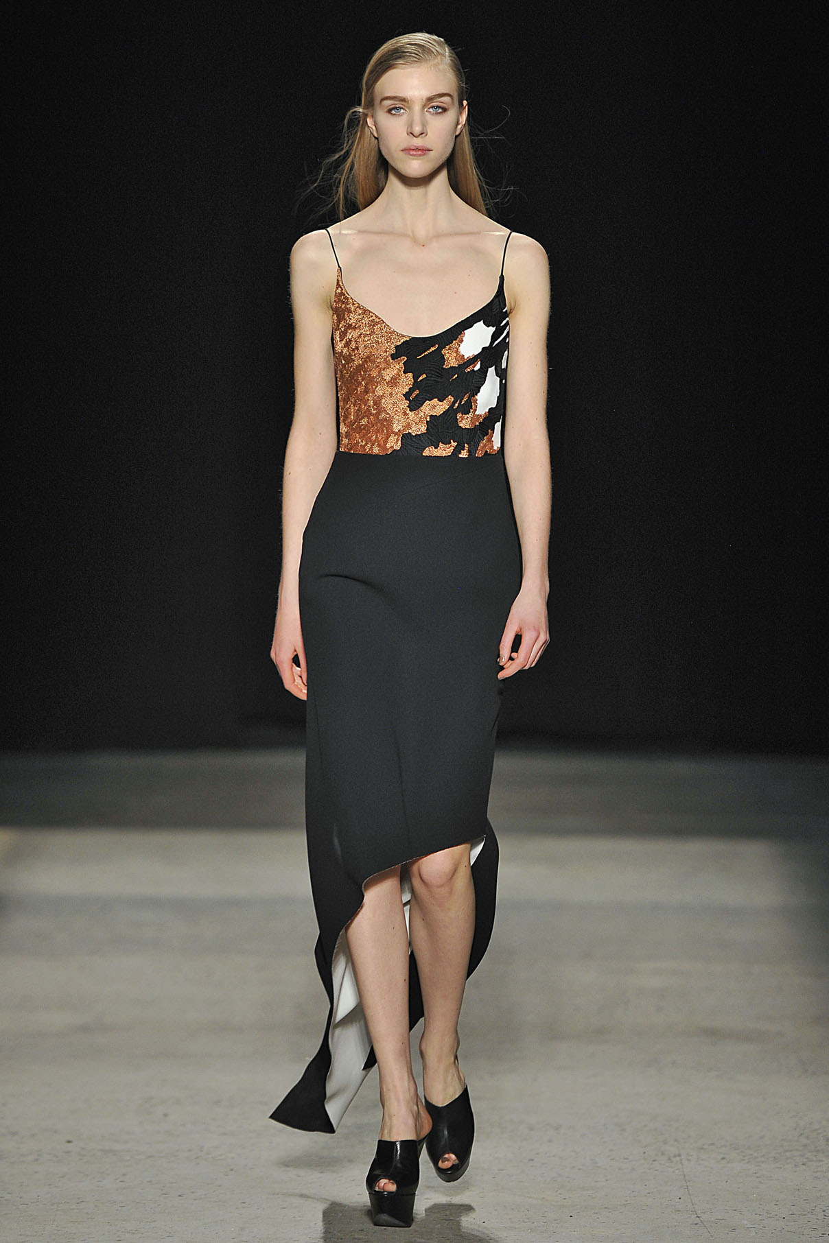 Look 32 Blush/black/chalk bonded silk embroidered dress.