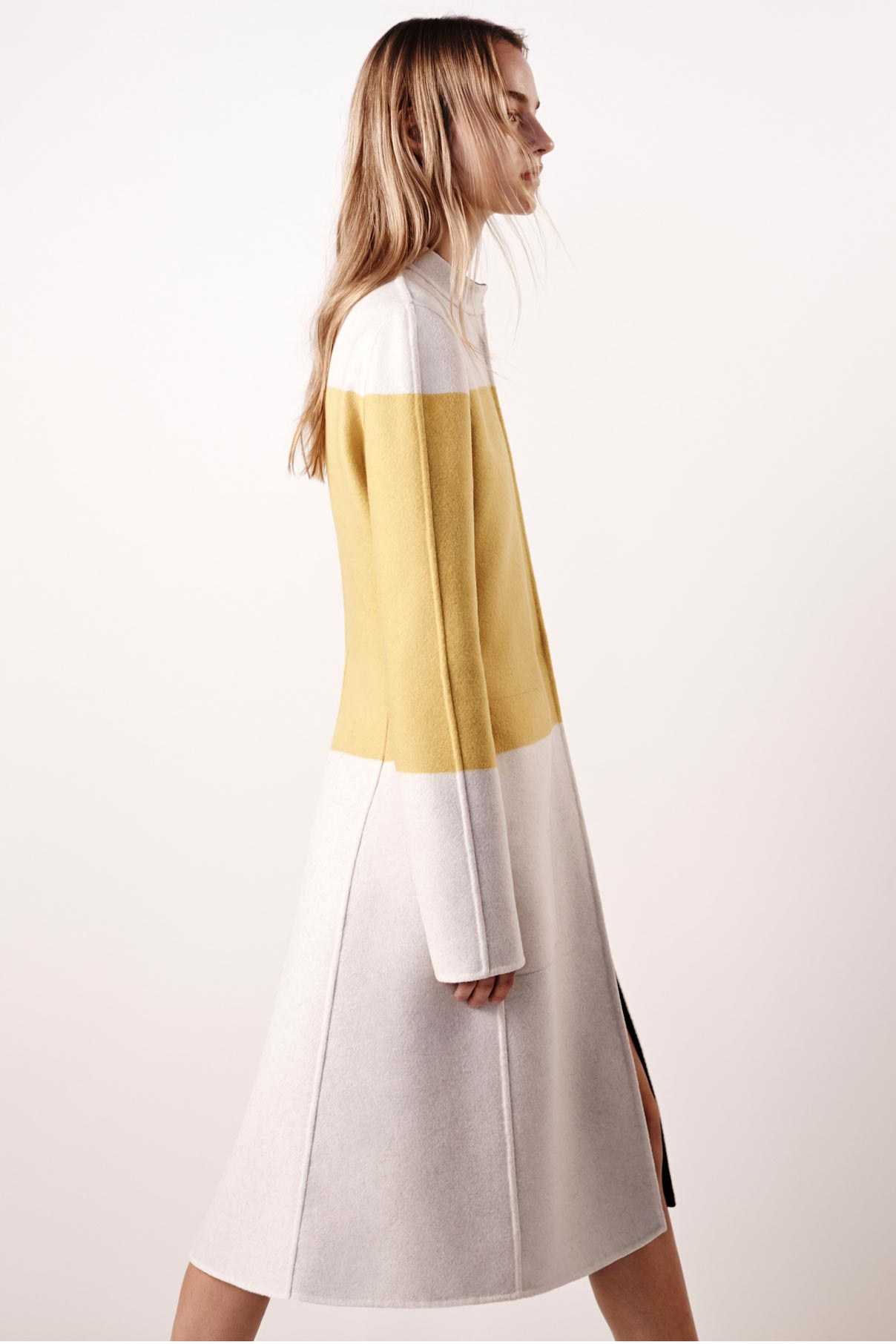 Look 2 Yellow/natural double face wool coat.