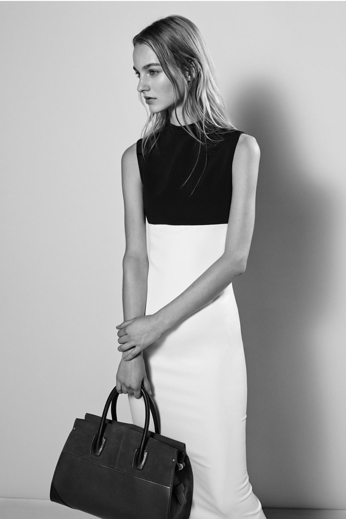 Look 1 Black/white wool gabardine mock neck dress.