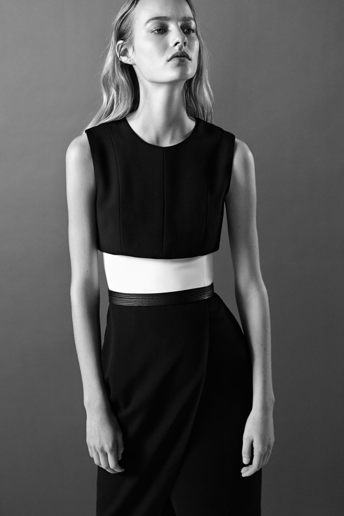 Look 3 Black/white wool gabardine belted dress.