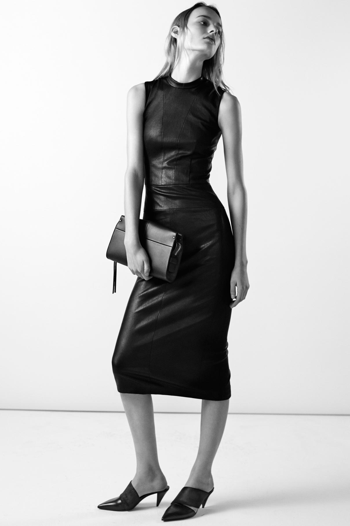 Look 5 Black stretch leather dress.