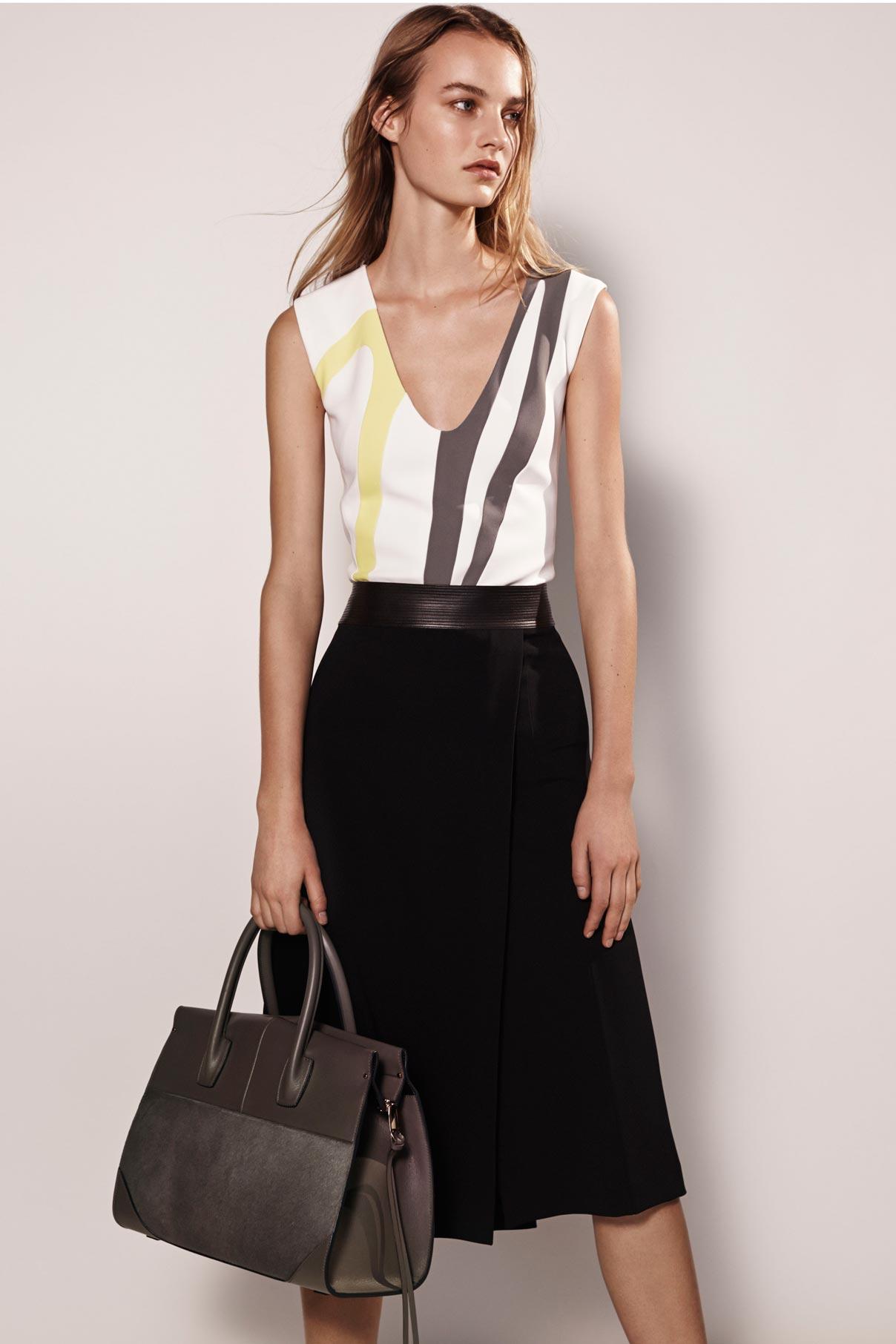 Look 7 Black/white/yellow silk crepe graphic dress.