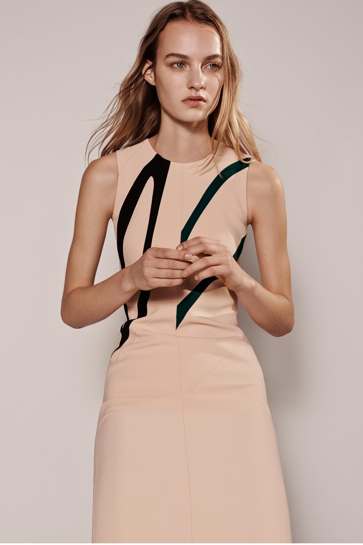 Look 8 Nude/black/dark green viscose crepe graphic dress.