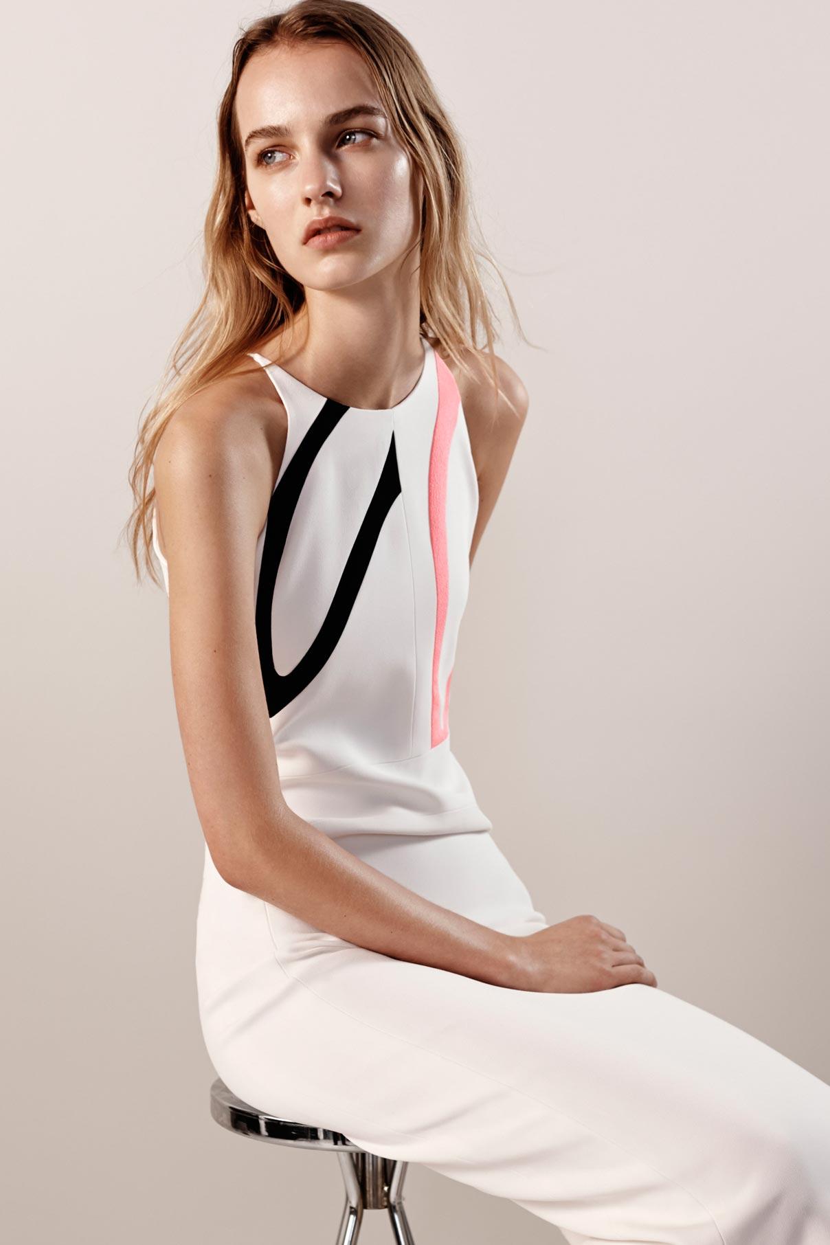 Look 10 White/black/pink viscose crepe graphic dress.