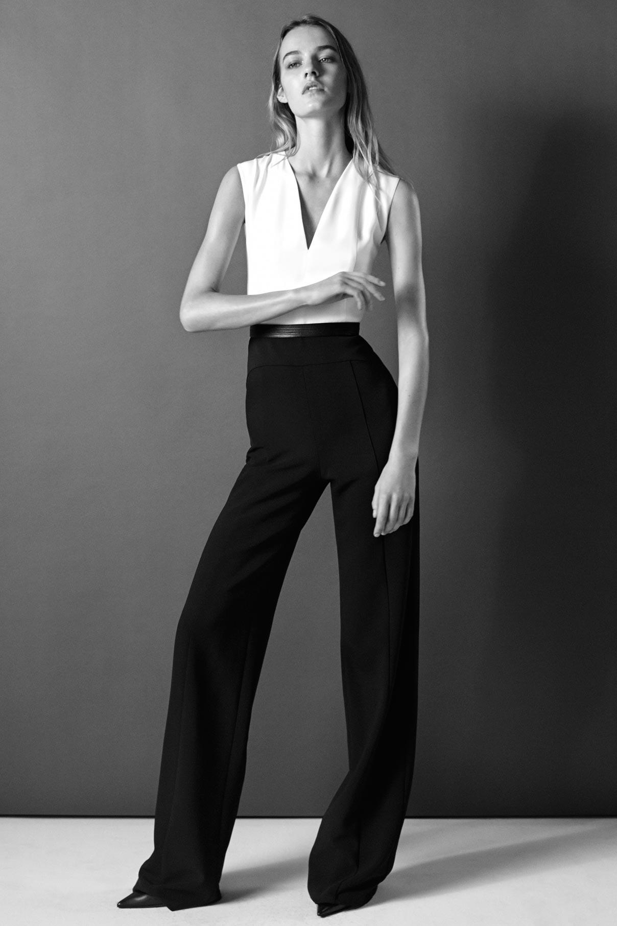 Look 12 Black/white wool gabardine belted jumpsuit.