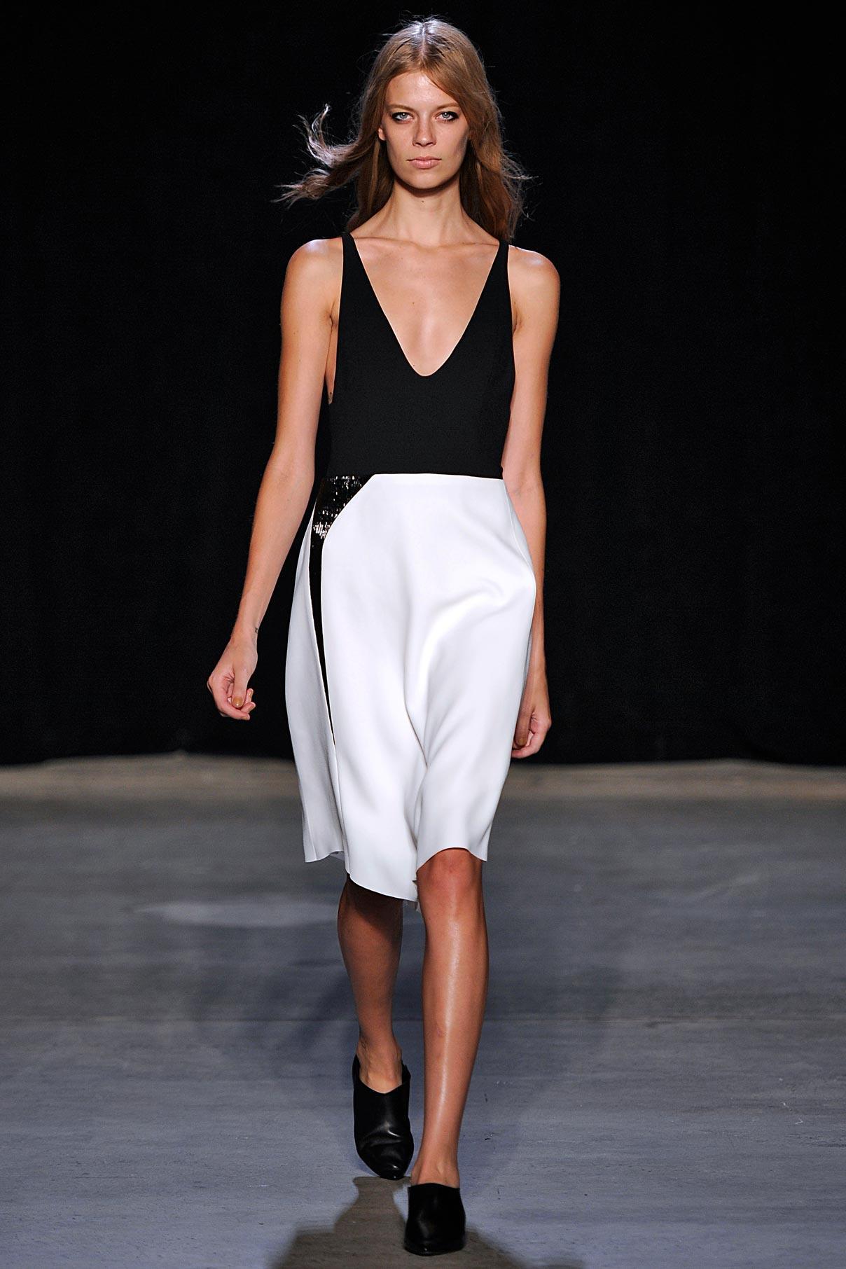 Look 1 Black scuba/white crepe/black crystal dress.