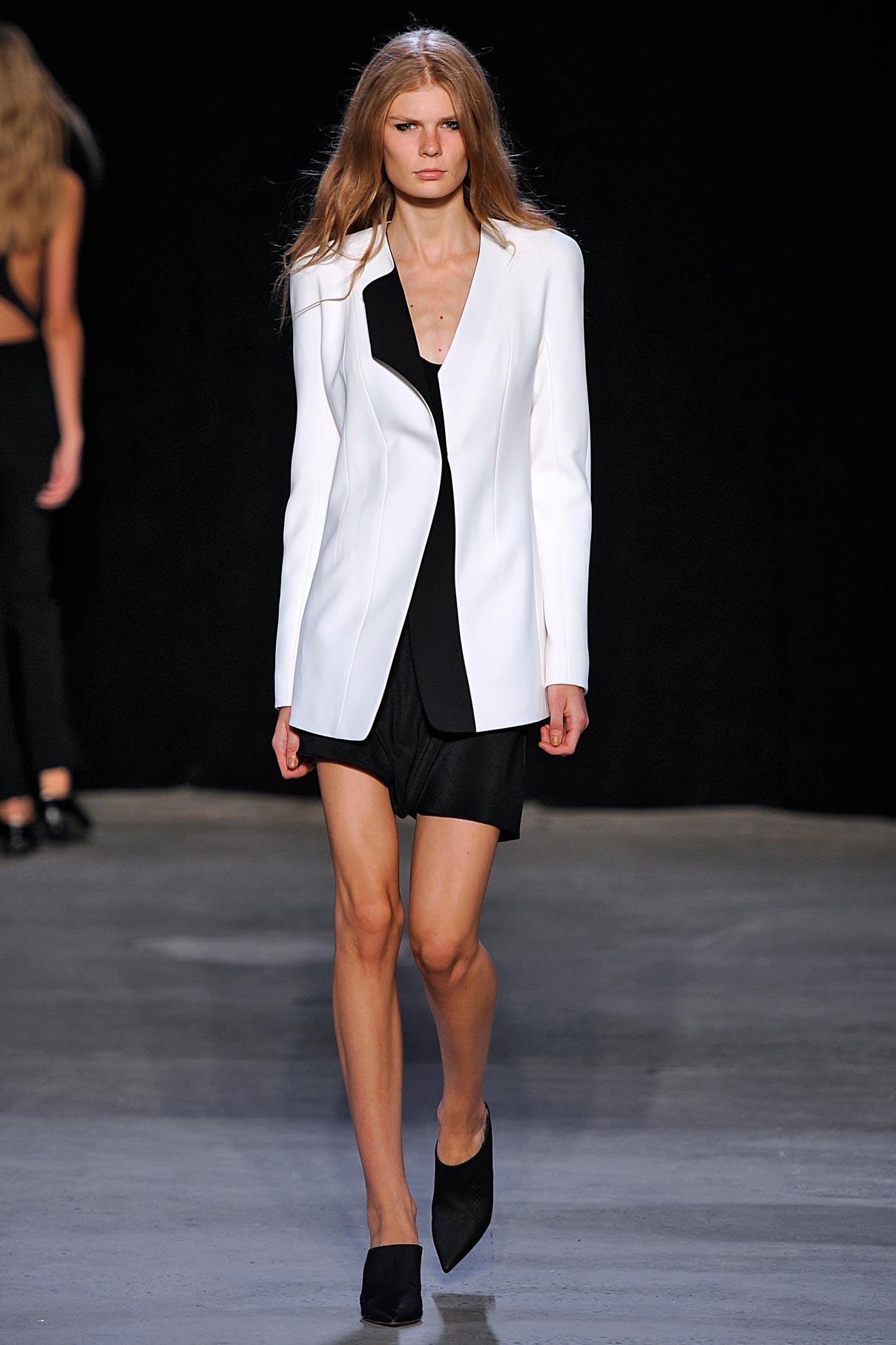 Look 6 White/black jacket with black kimono silk slip dress.