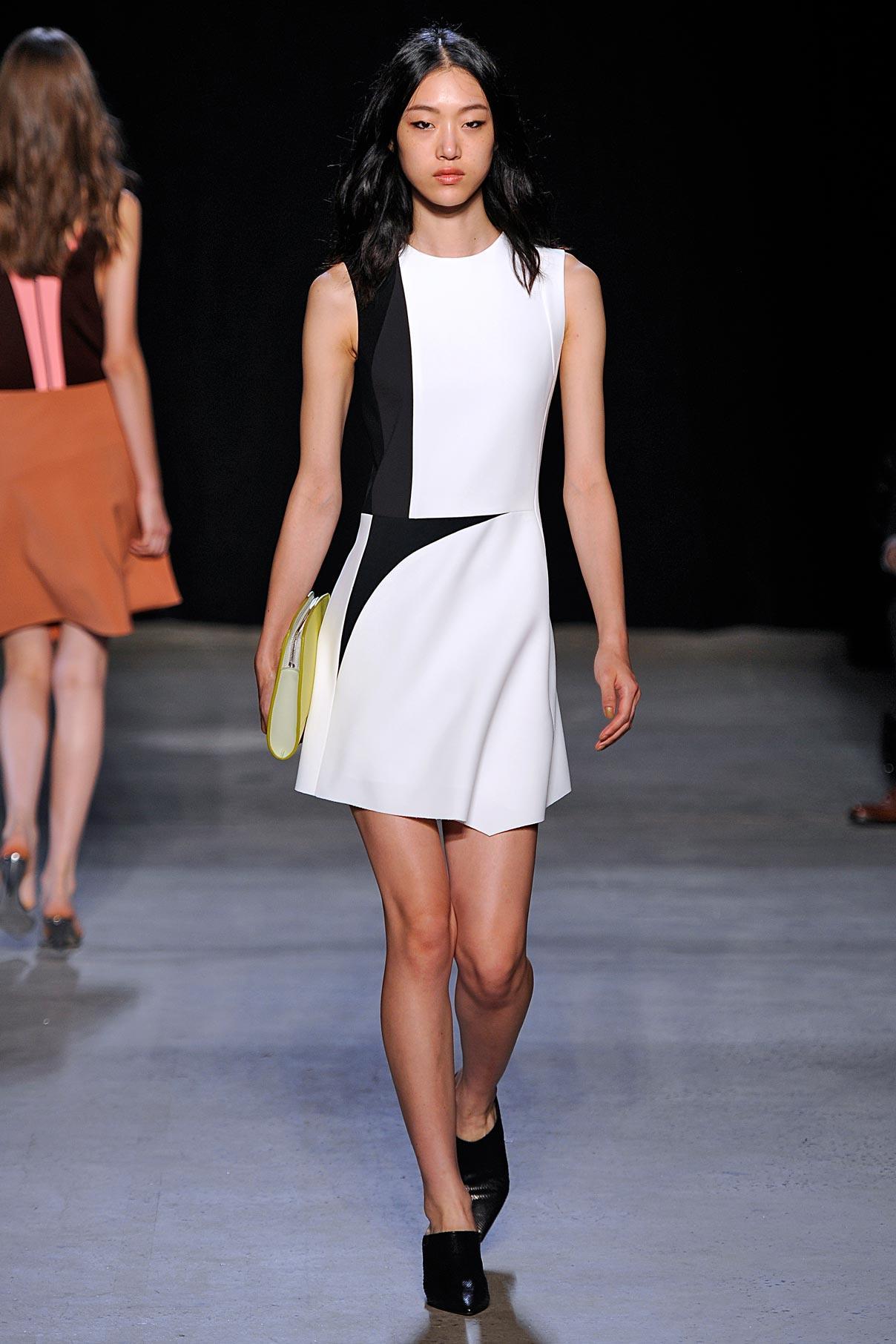Look 8 White/green/lava/black geometric dress.