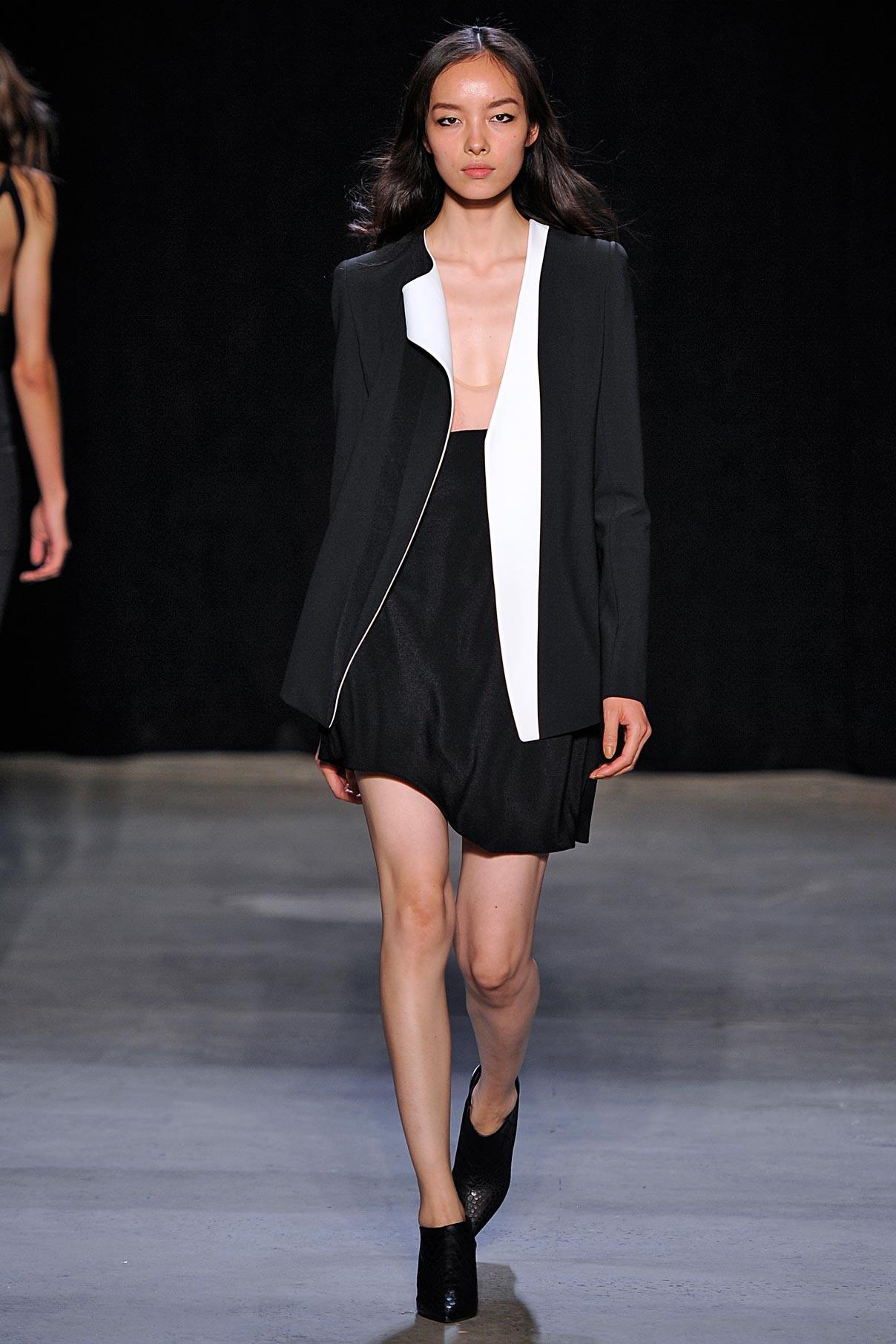 Look 15 Black/white crepe jacket with blush/black kimono silk dress.
