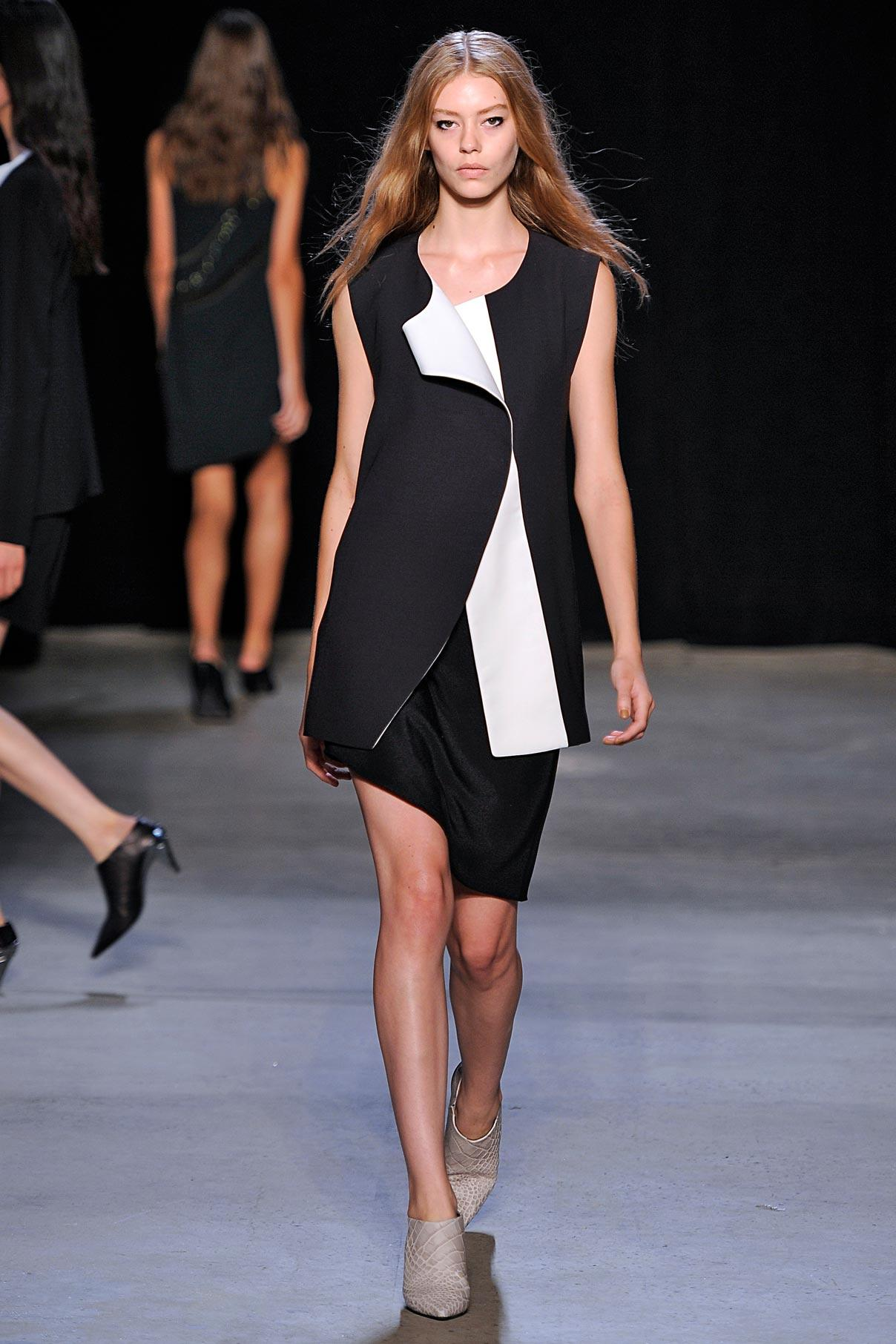 Look 17 Lava/white wool/silk vest with black kimono silk slipdress.