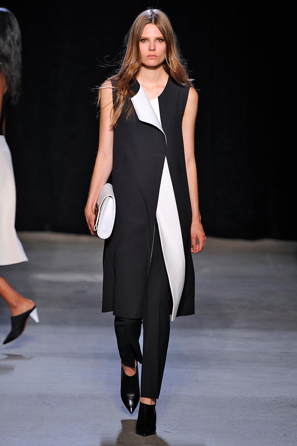 Look 18 Lava/white wool/silk coat with black scuba tank and lava wool/silk trouser.
