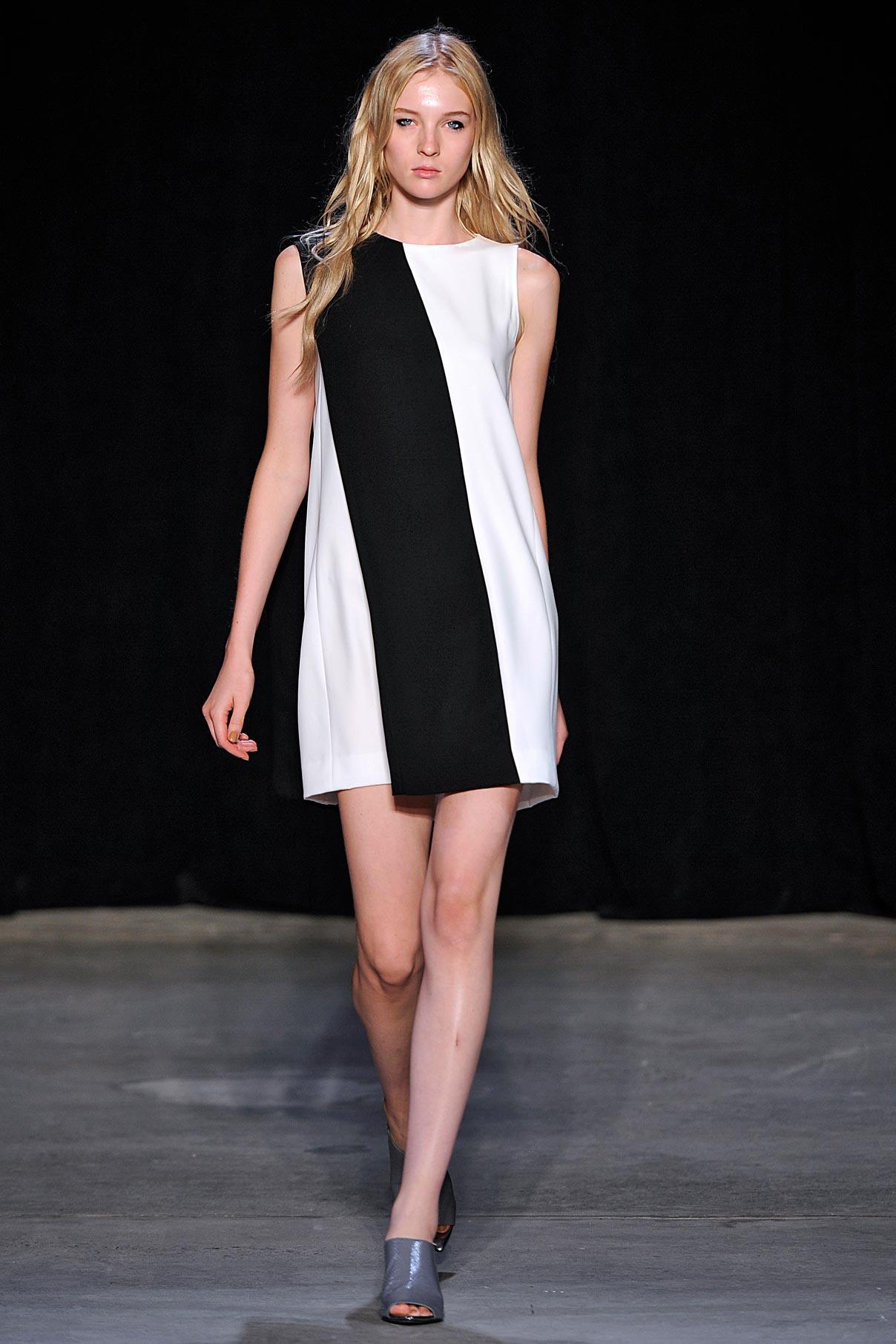 Look 19 Black/white crepe dress.
