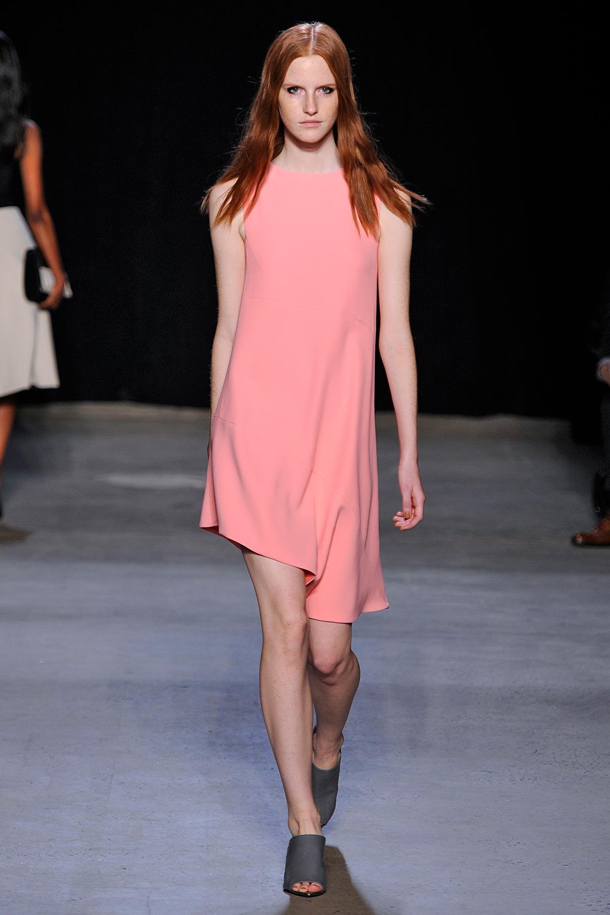 Look 20 Pink silk crepe dress.