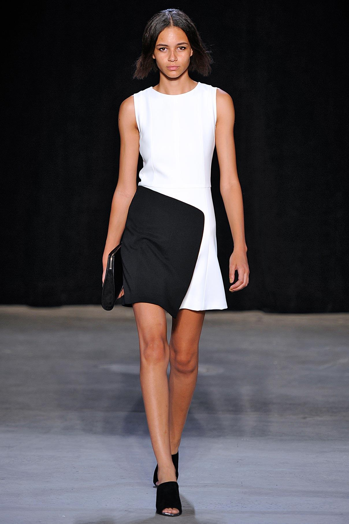 Look 21 Black/white bonded crepe dress.