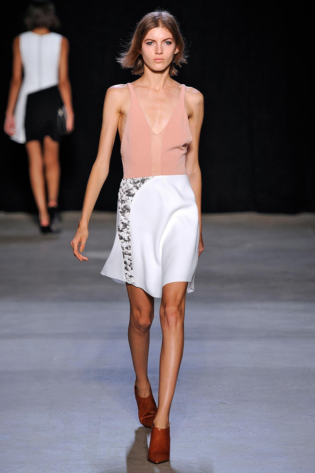 Look 25 Nude kimono silk/white crepe/tweed collage dress.