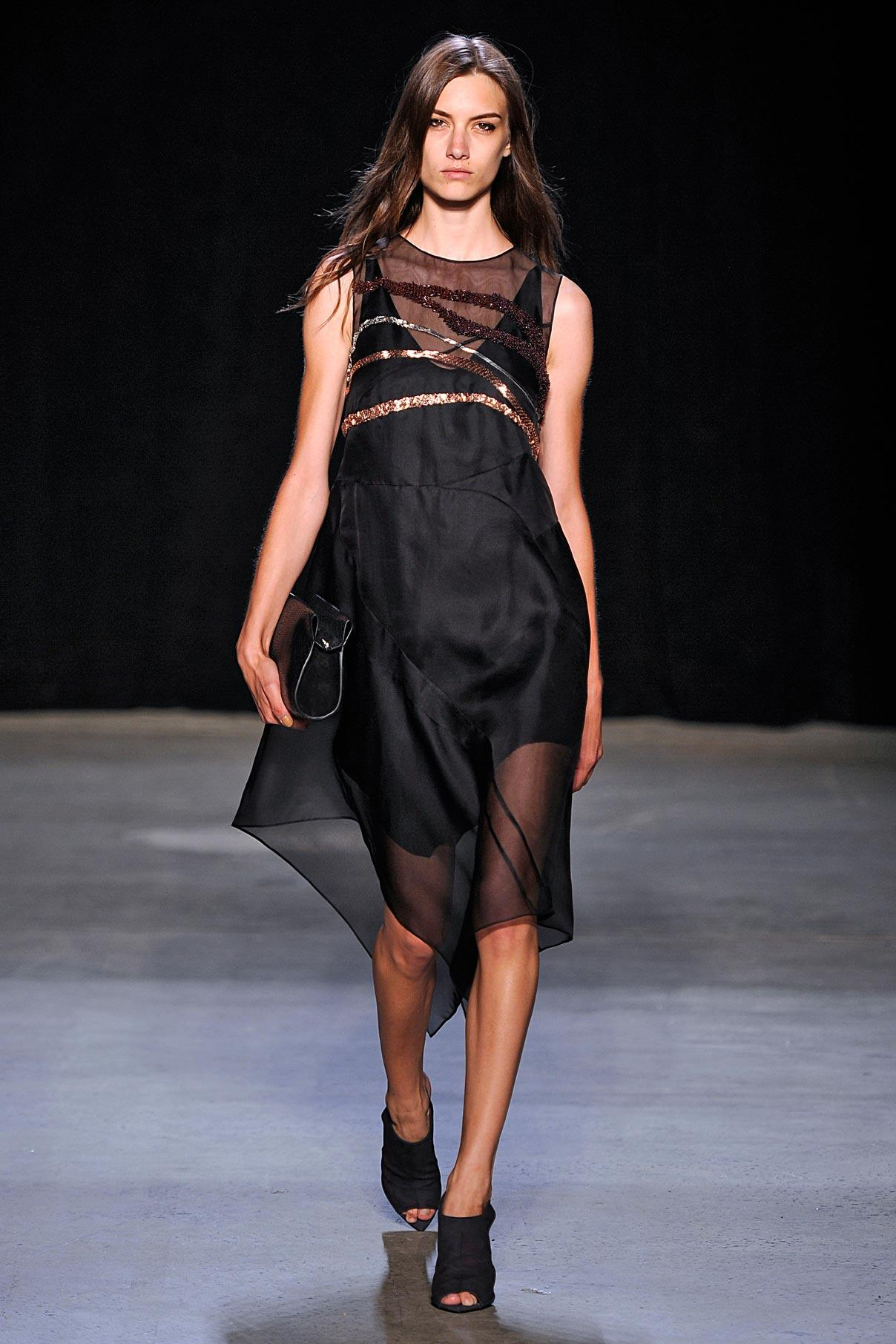 Look 30 Black silk mesh embroidered dress.
