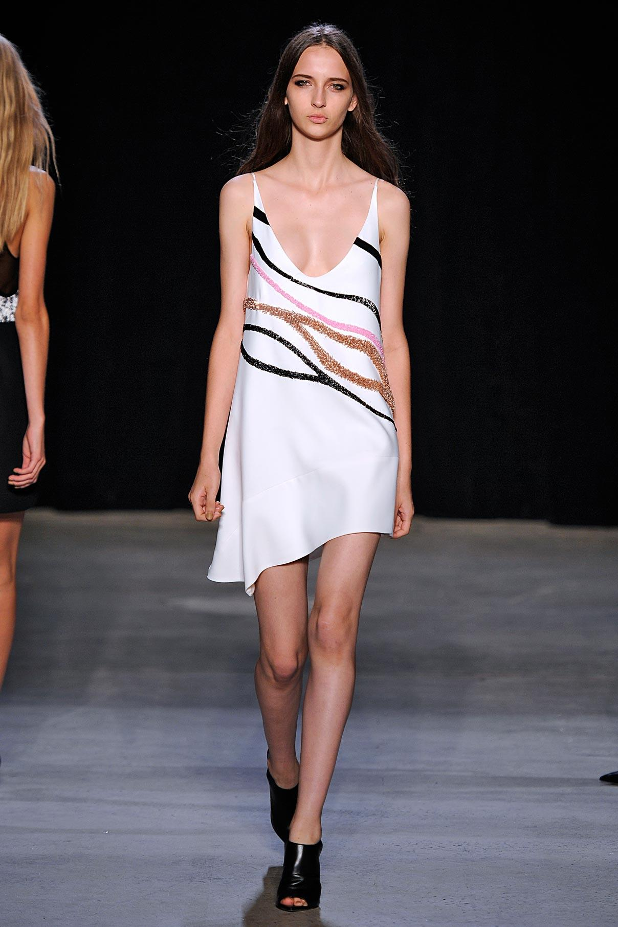 Look 31 Pink/black/copper embroidered white bonded crepe dress.