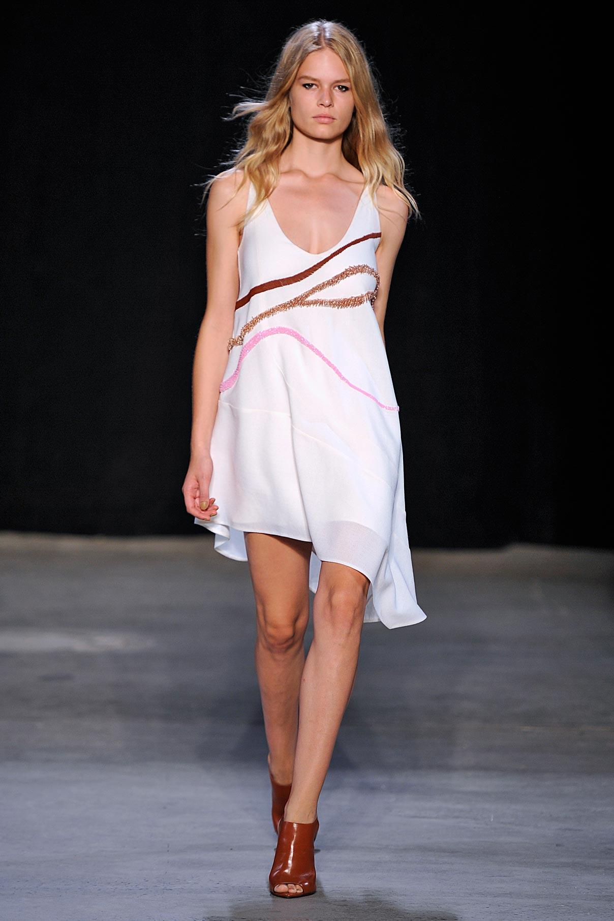 Look 32 Pink/clay/copper embroidered wool tank dress.