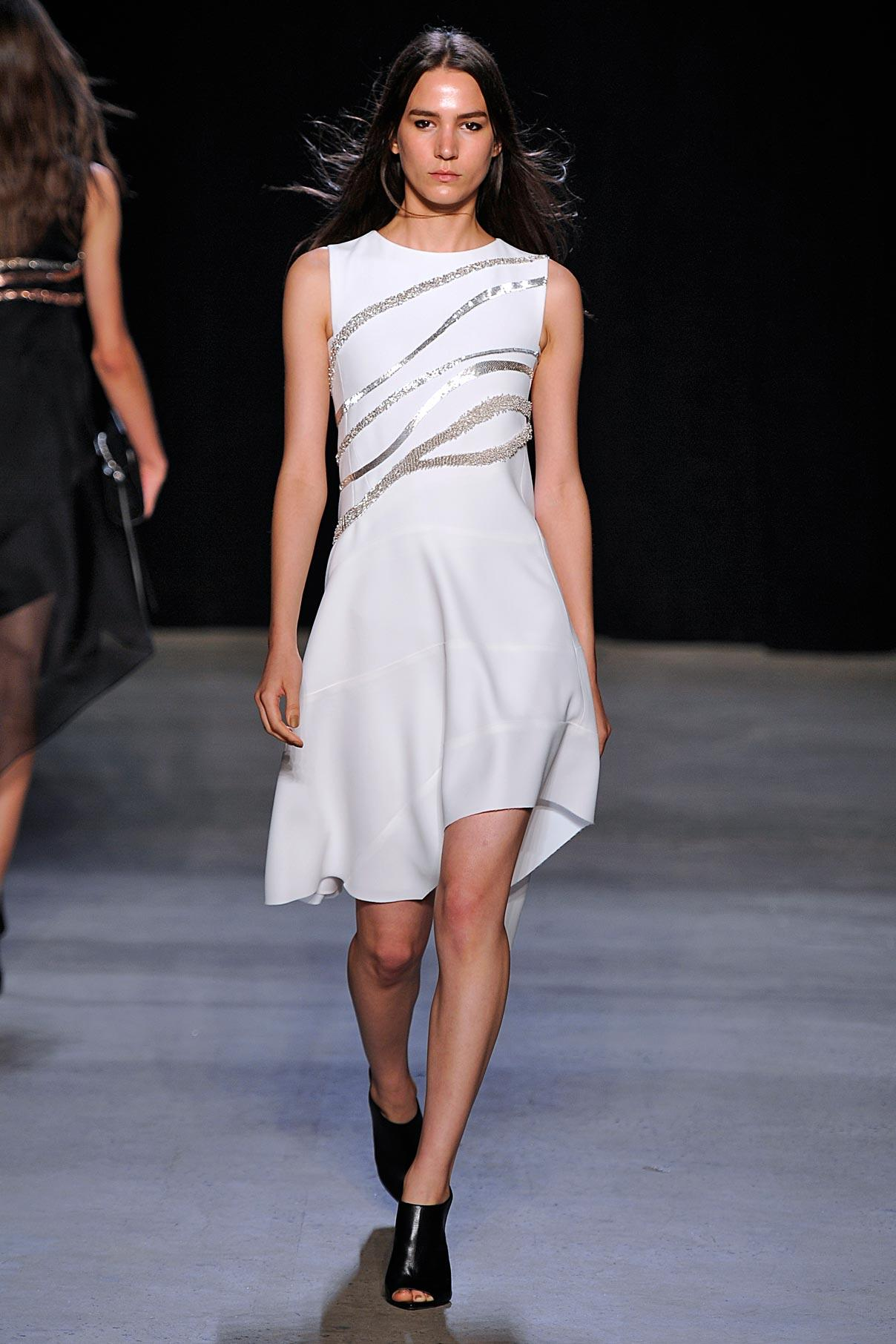 Look 34 White bonded crepe/silver embroidered dress.