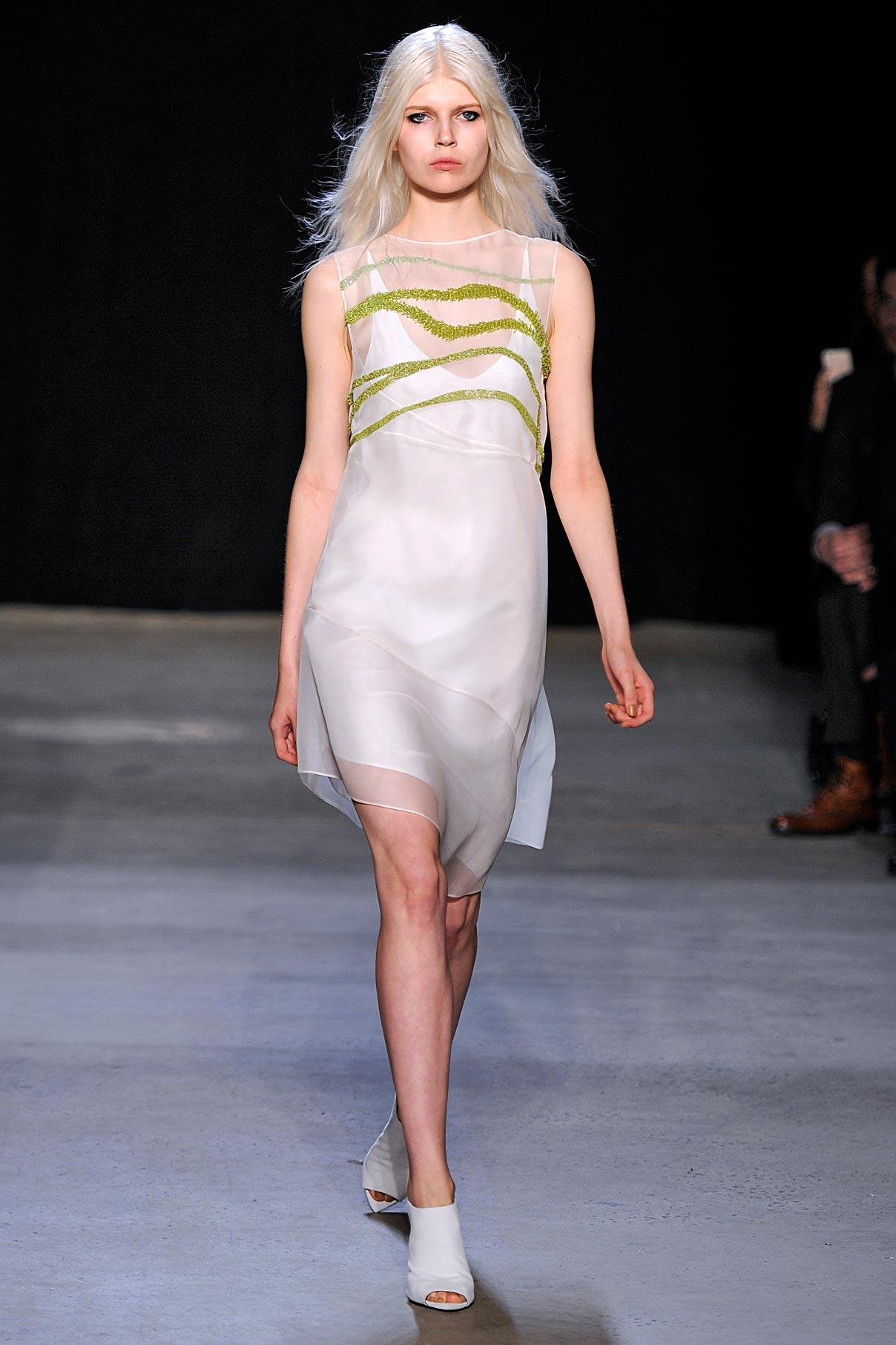 Look 33 White silk mesh/citrine embroidered dress.