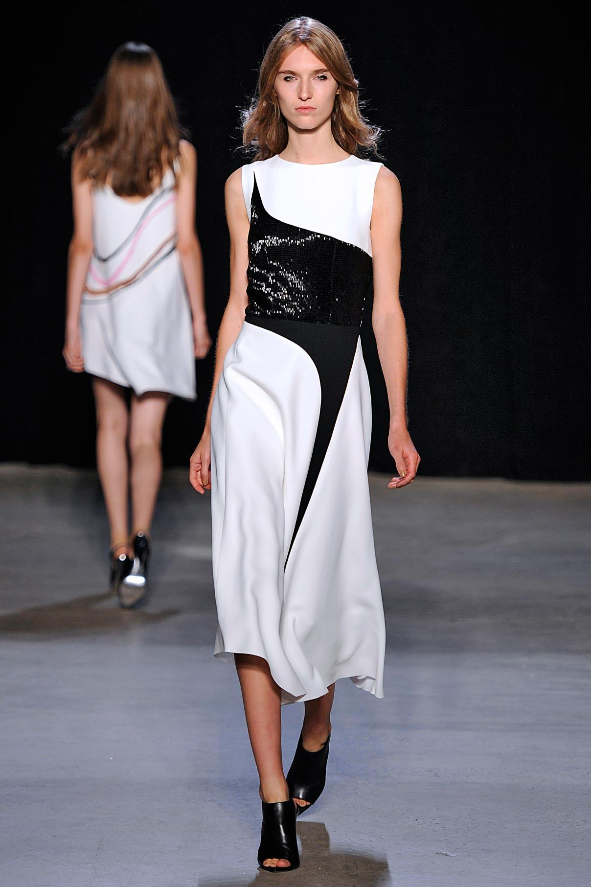 Look 35 White crepe/black crystal embroidered dress.
