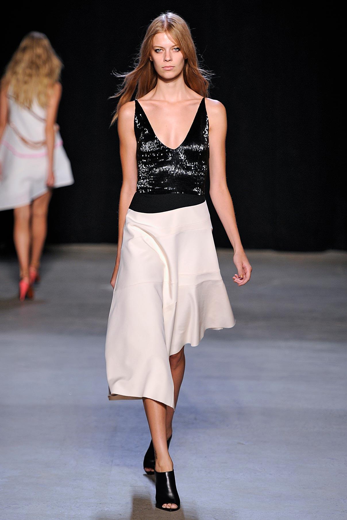 Look 36 Ecru bonded silk/black crystal embroidered dress.