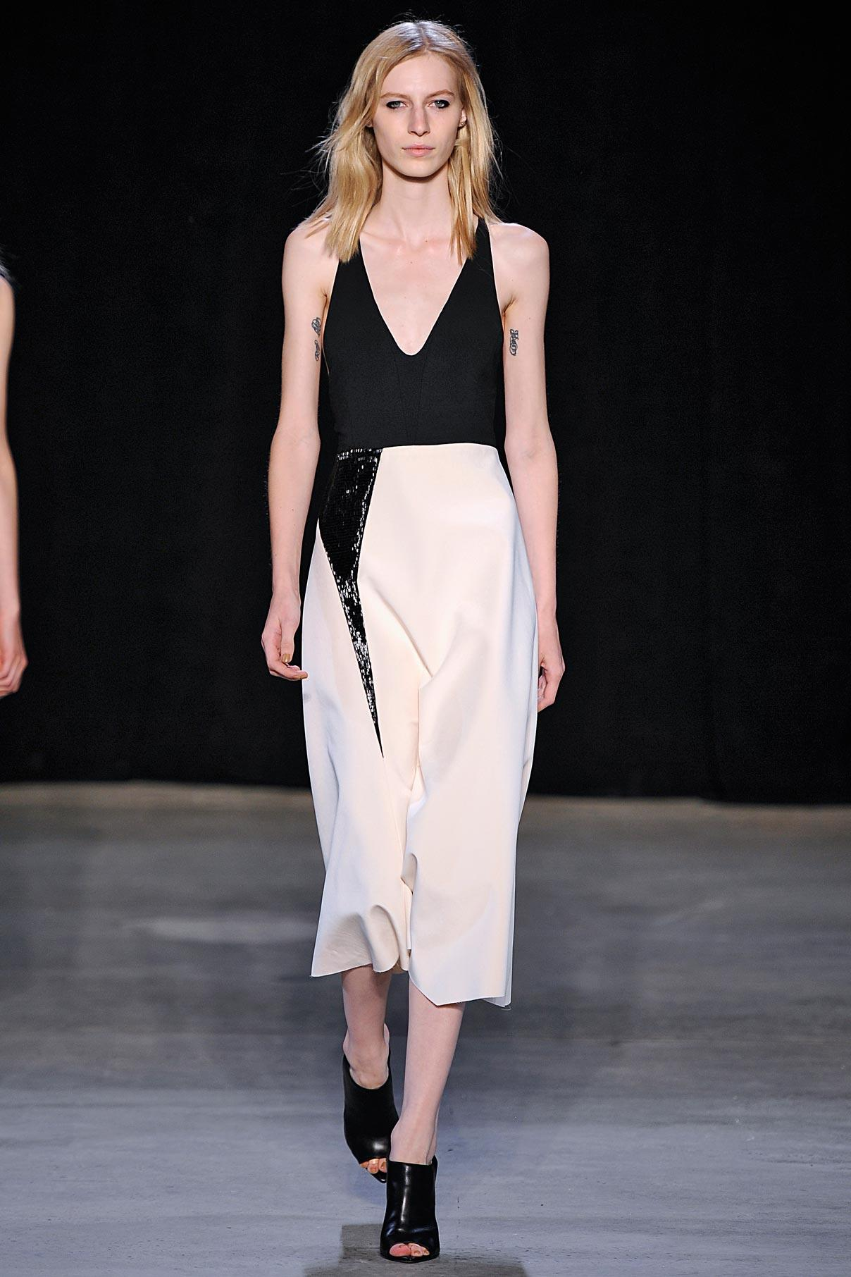 Look 37 Ecru bonded silk/black crystal embroidered dress.