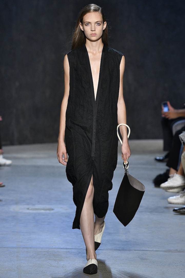 Narciso Rodriguez Spring 2017 collection. Coal compressed linen cardigan vest dress.