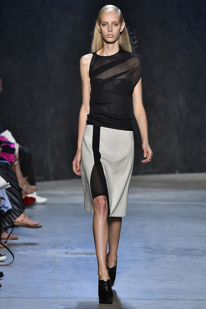 Narciso Rodriguez Spring 2017 collection. Black bias silk rib knit pullover dress with  black lotus knit tank and bonded double face wool/flax linen over skirt.