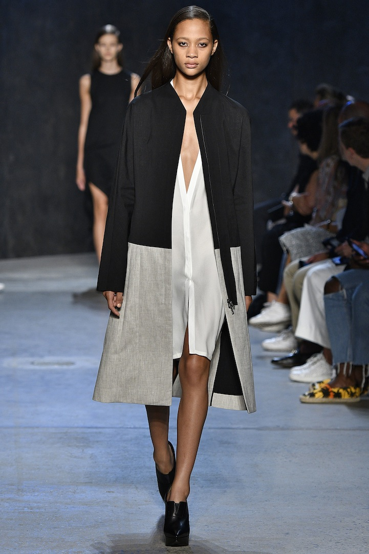 Narciso Rodriguez Spring 2017 collection. Bonded double face wool/flax linen coat with white pebble silk cardigan dress.