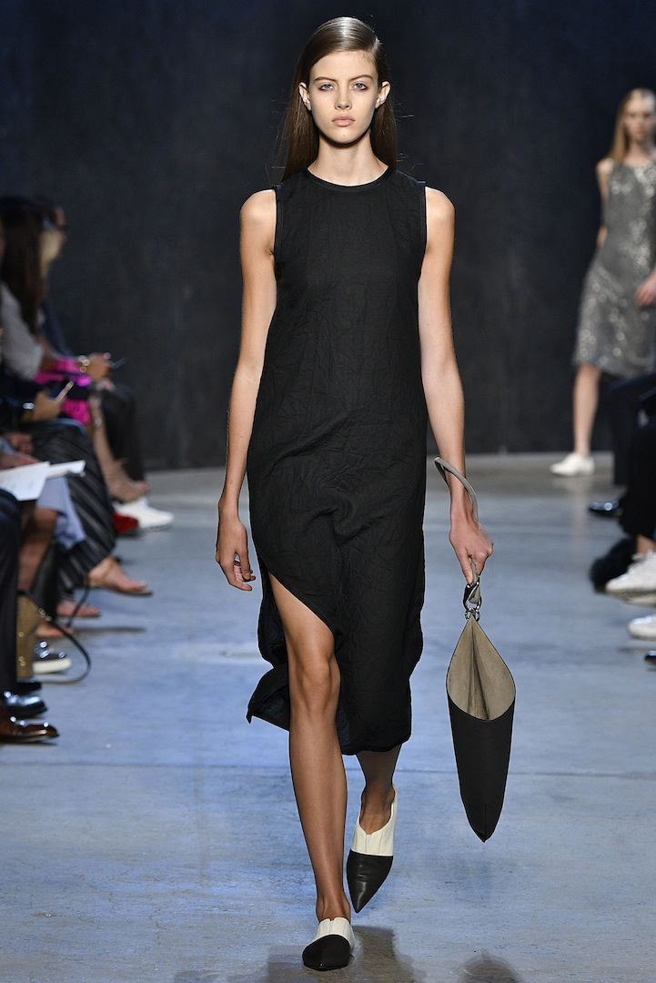Narciso Rodriguez Spring 2017 collection. Coal compressed bias linen dress.