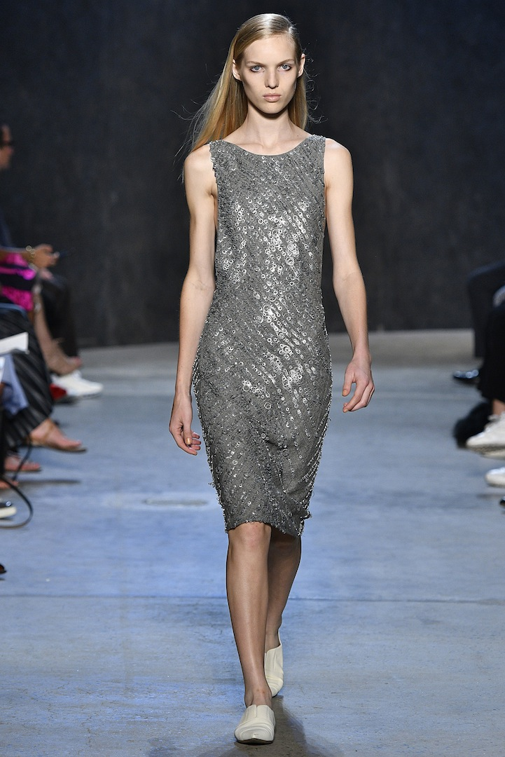 Narciso Rodriguez Spring 2017 collection. Aluminum linen and metal embroidered bias dress.