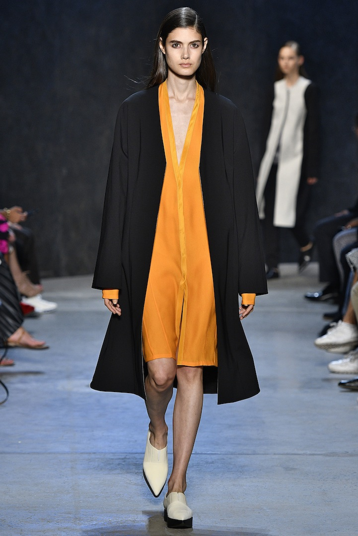 Narciso Rodriguez Spring 2017 collection. Mercury/black double constructed wool coat over amber pebble silk cardigan dress.
