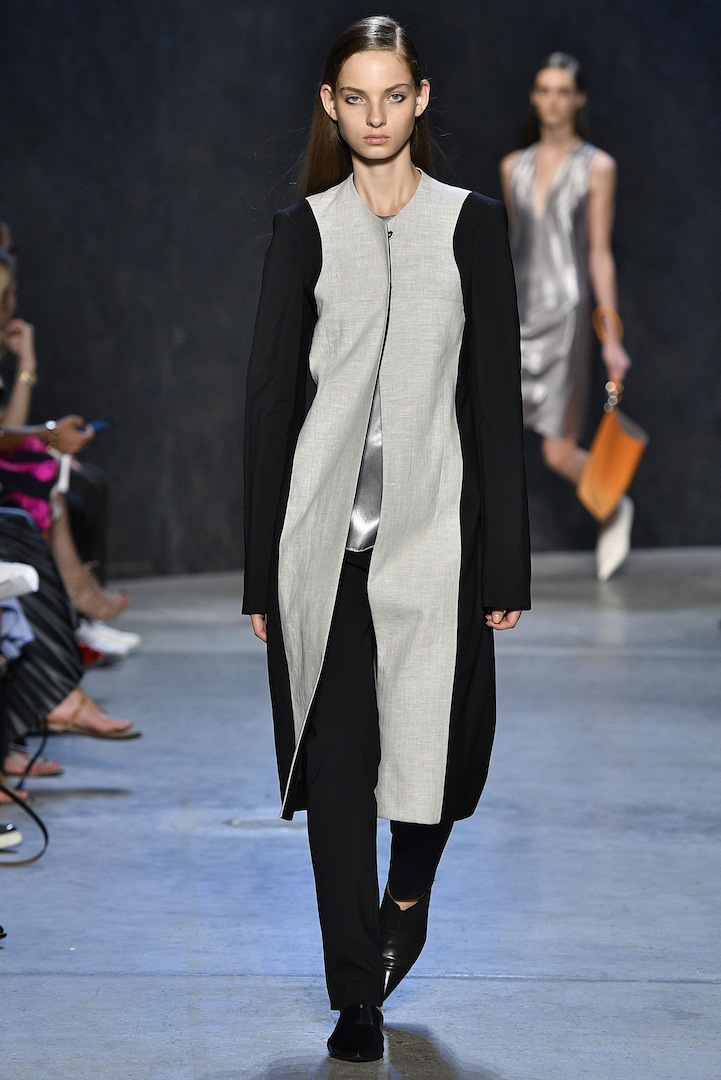 Narciso Rodriguez Spring 2017 collection. Bonded double face wool/flax linen coat over mercury coated silk satin tank with black double constructed wool track pant.