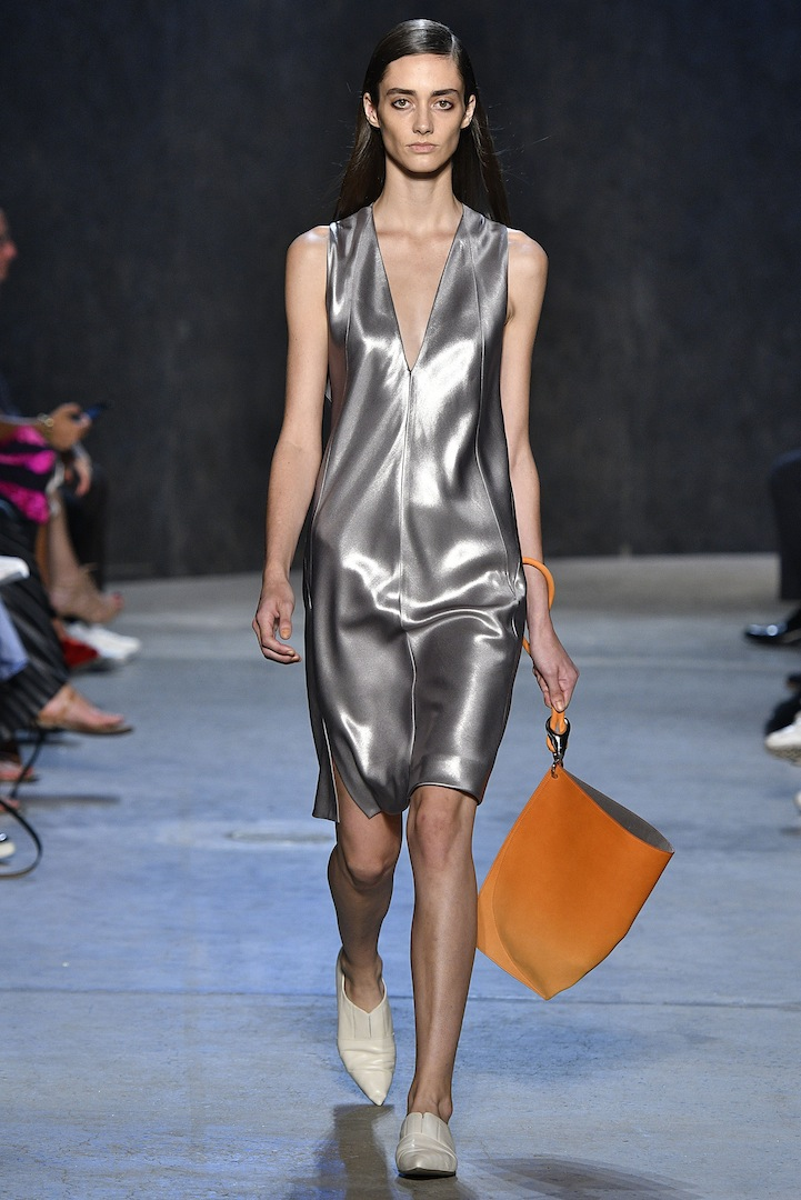Narciso Rodriguez Spring 2017 collection. Mercury coated silk satin tank dress.