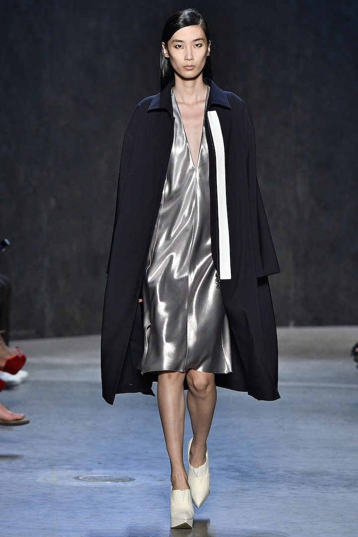 Narciso Rodriguez Spring 2017 collection. Midnight silk/nylon trench coat over mercury coated silk satin tank dress.