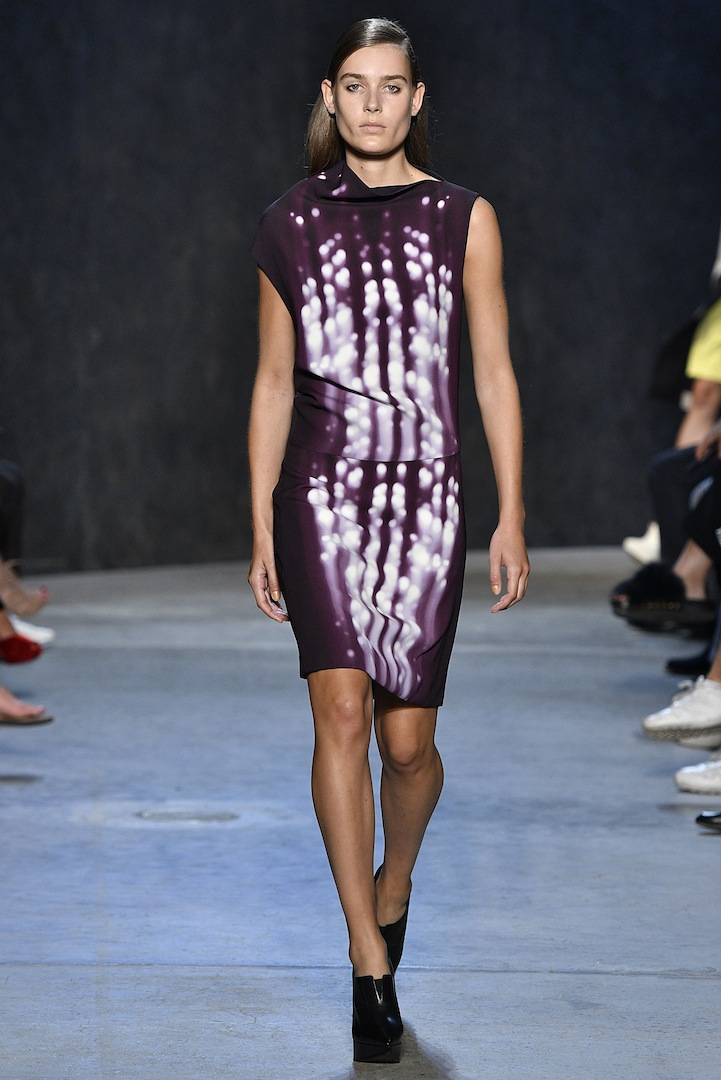 Narciso Rodriguez Spring 2017 collection. Plum/violet photogram print silk dress.