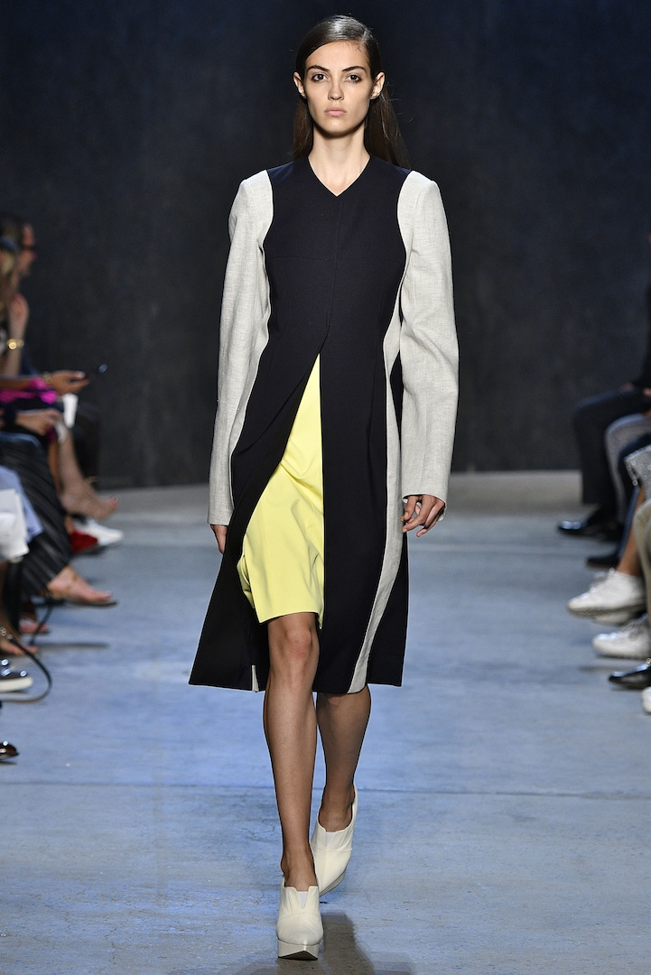 Narciso Rodriguez Spring 2017 collection. Midnight silk/nylon and flax linen coat over citrine silk dress.