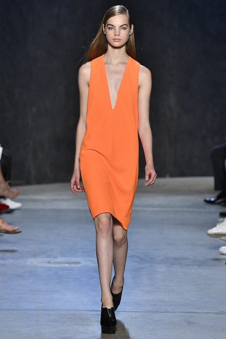 Narciso Rodriguez Spring 2017 collection. Neon crepe dress.