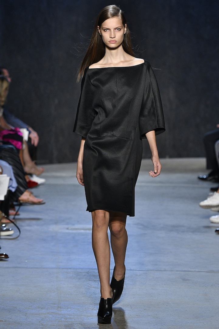 Narciso Rodriguez Spring 2017 collection. Black polished linen dress.