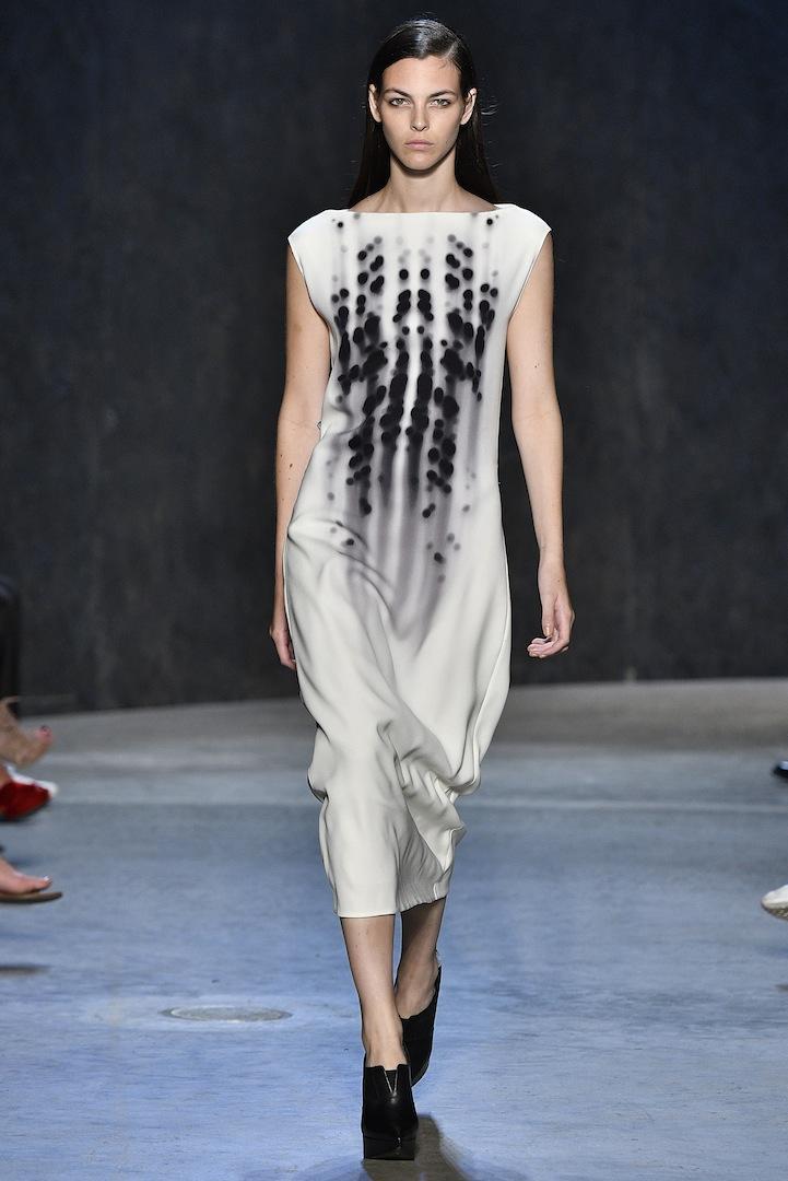 Narciso Rodriguez Spring 2017 collection. White/black photogram print silk dress.
