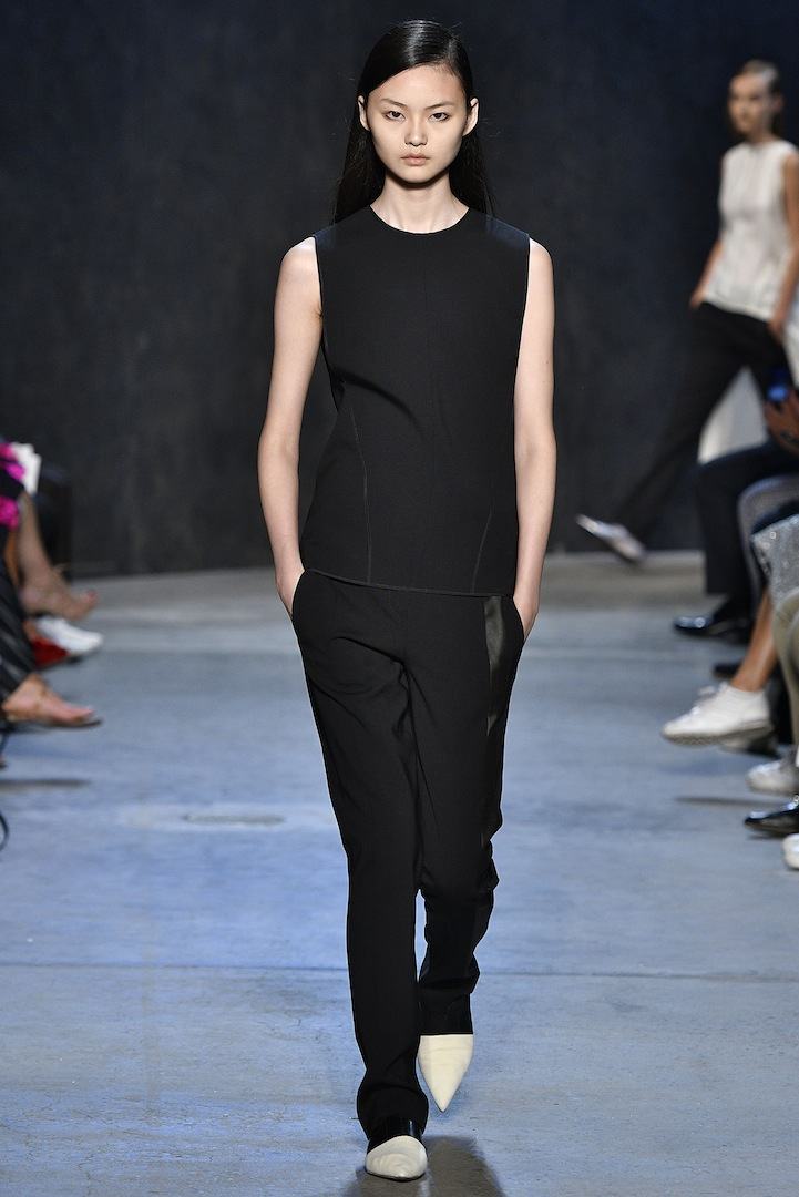 Narciso Rodriguez Spring 2017 collection. Black double constructed wool top with black double constructed wool trouser.