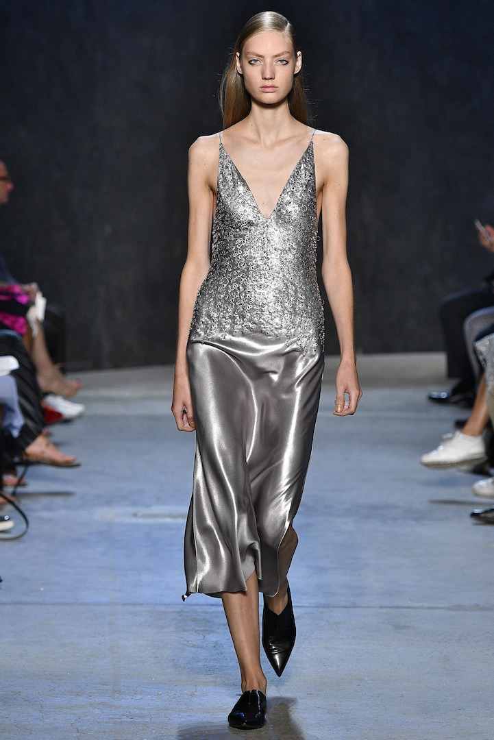 Narciso Rodriguez Spring 2017 collection. Mercury coated silk satin and metal embroidered bias dress.