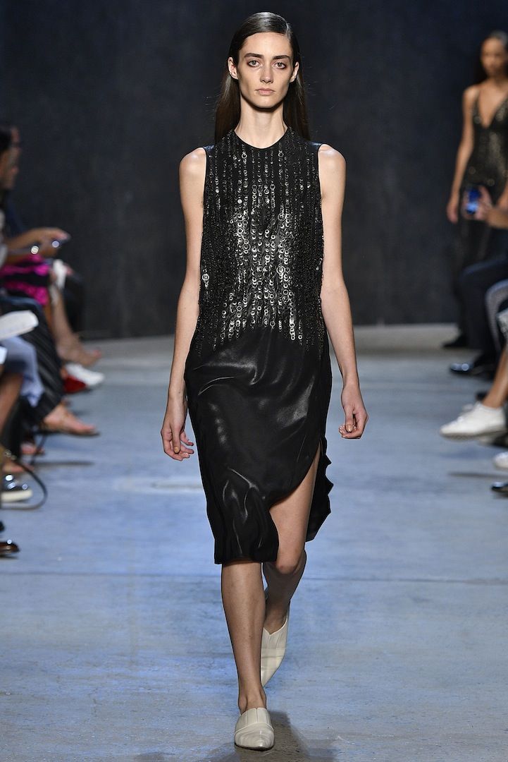 Narciso Rodriguez Spring 2017 collection. Onyx coated silk satin and metal embroidered bias dress