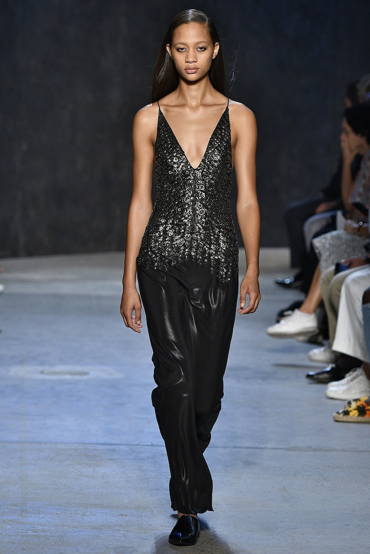 Narciso Rodriguez Spring 2017 collection. Onyx coated silk satin and metal embroidered bias dress.