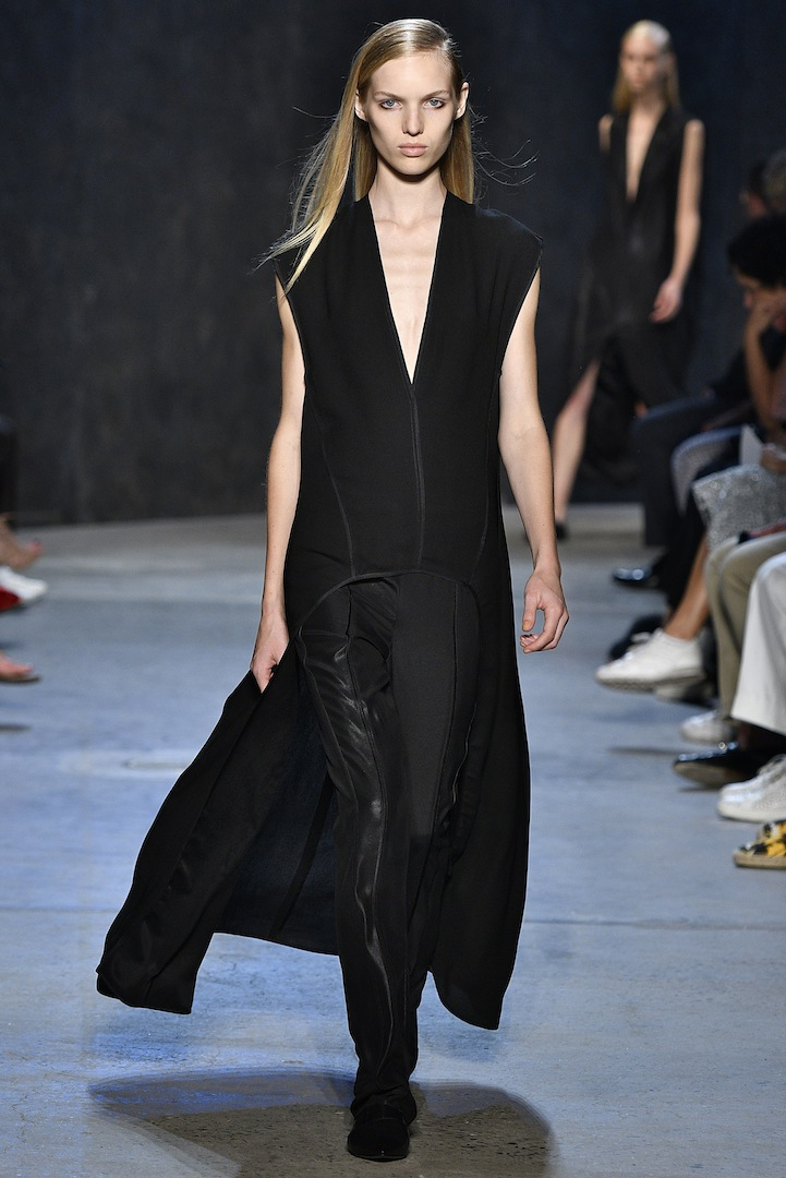 Narciso Rodriguez Spring 2017 collection. Black pebble silk evening top with onyx coated silk satin track pant.