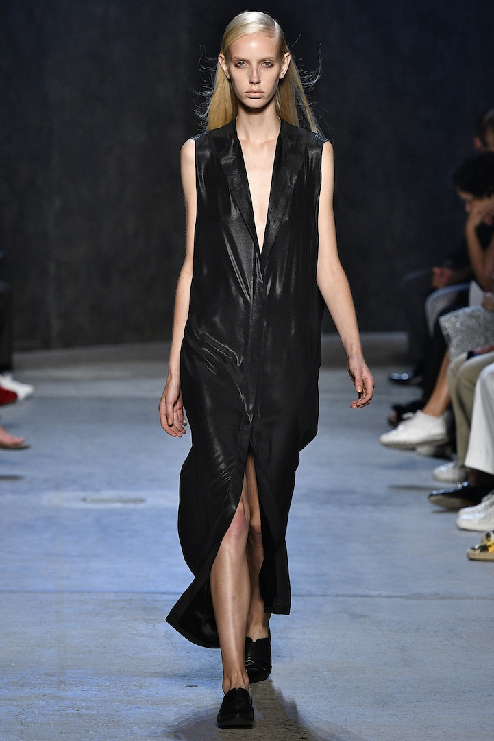 Narciso Rodriguez Spring 2017 collection. Onyx coated silk satin dress.