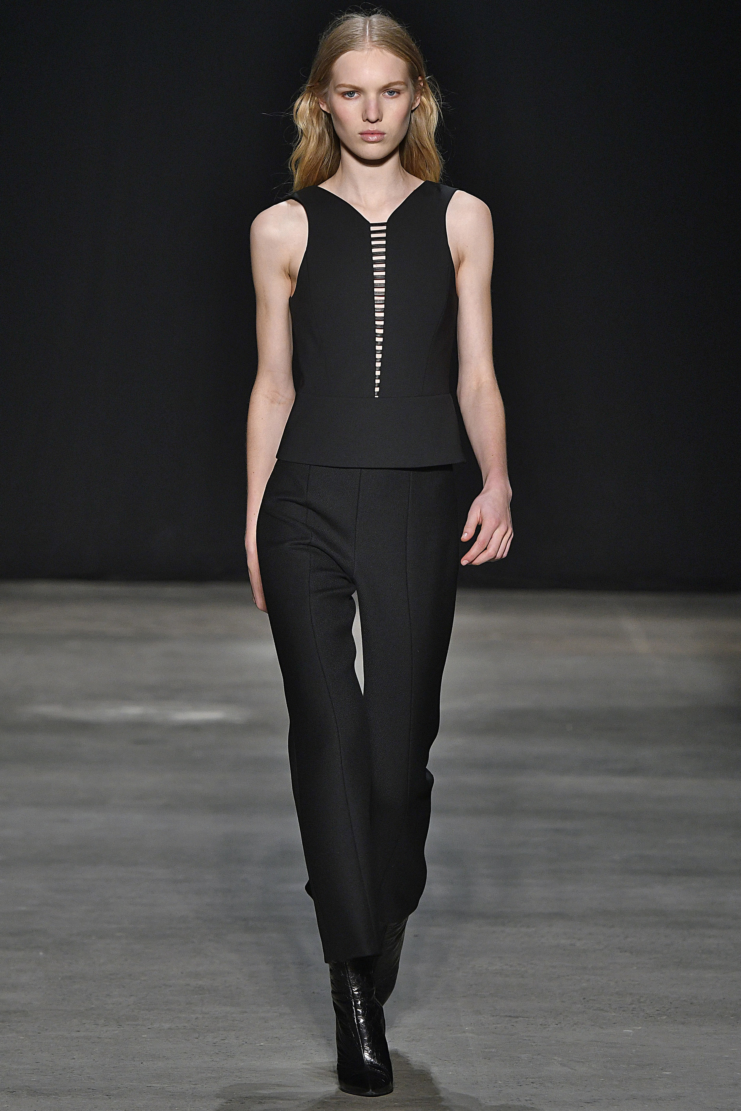 Narciso Rodriguez Fall 2017 collection.  Black pressed wool top with black wool twill pant.